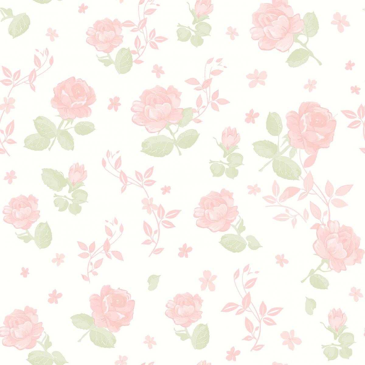 Papel floral rosa grande vinilizado Bambinos