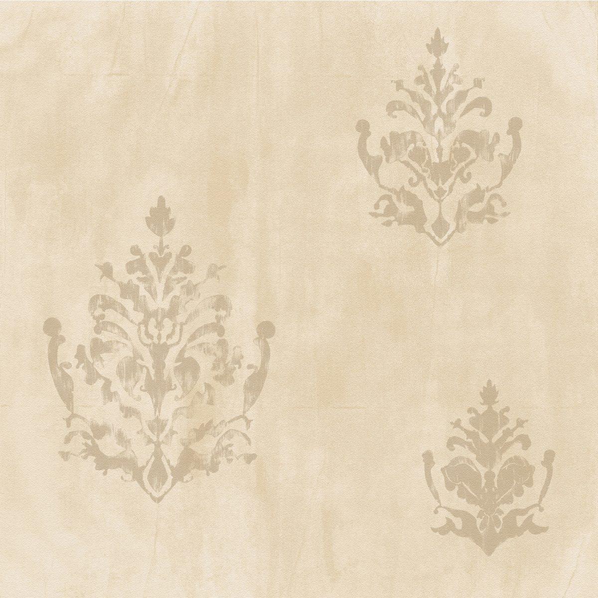 Papel de parede cimento queimado com arabesco vinílico Natural
