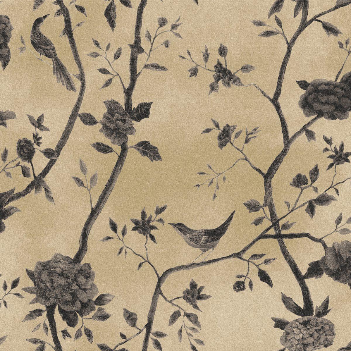 Papel de parede floral  com passaros vinílico Natural