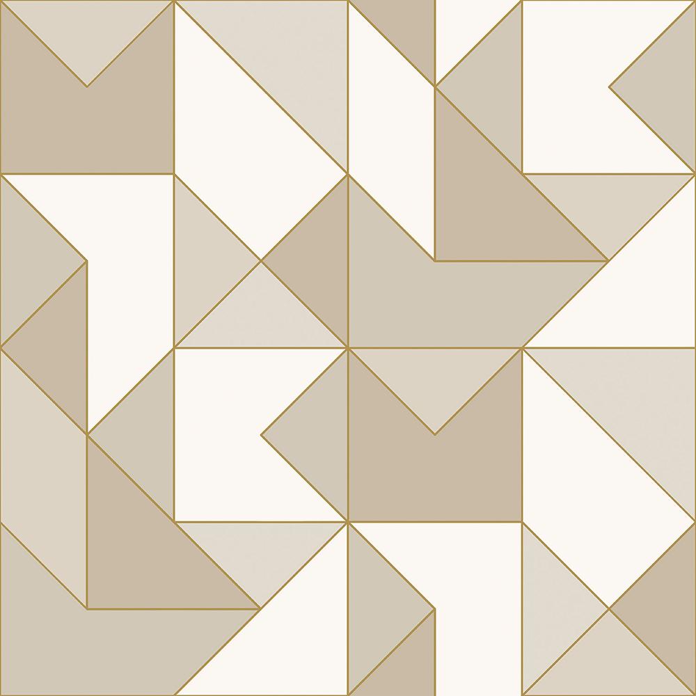 Papel de Parede Vinílico Contemporâneo Clássico Geométrico Bege