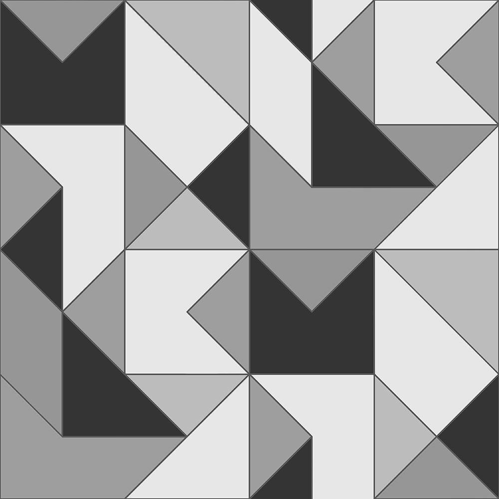 Papel de Parede Vinílico Contemporâneo Clássico Geométrico Preto