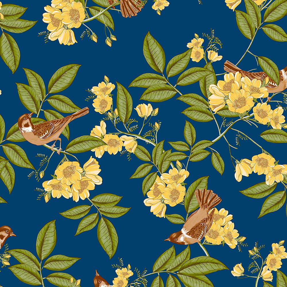 Papel de Parede Vinílico Contemporâneo Romântico Floral Azul Marinho