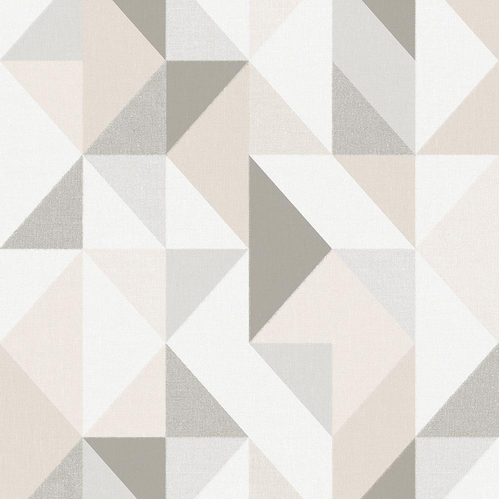 Papel de Parede Vinílico Contemporâneo Contemporâneo Geométrico Bege
