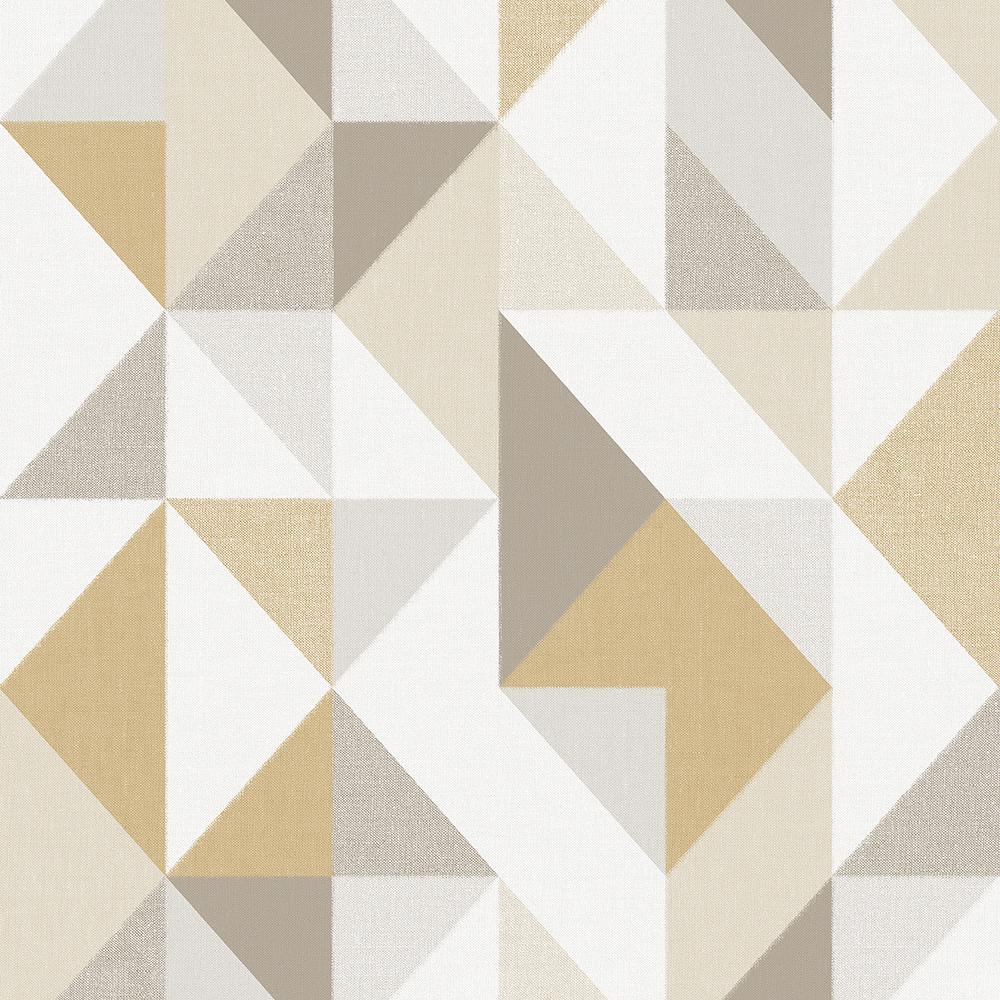 Papel de Parede Vinílico Contemporâneo Contemporâneo Geométrico Mostarda