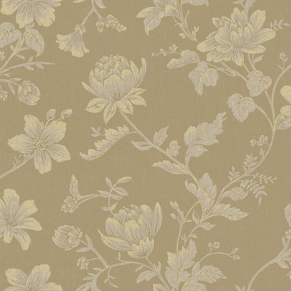 Papel de Parede Vinílico Contemporâneo Romântico Floral Bege