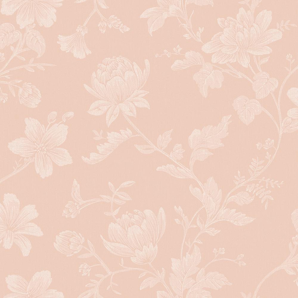 Papel de Parede Vinílico Contemporâneo Romântico Floral Rosa