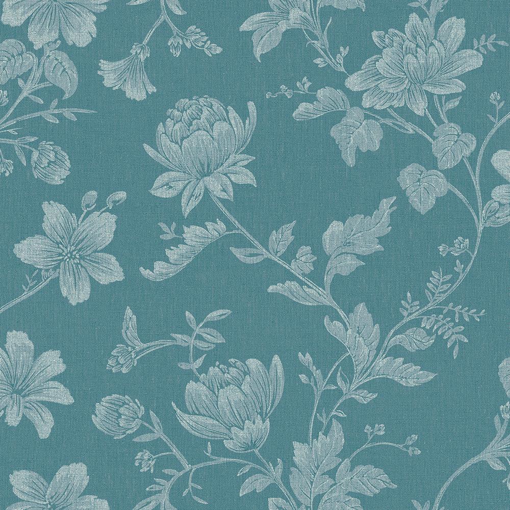 Papel de Parede Vinílico Contemporâneo Romântico Floral Azul