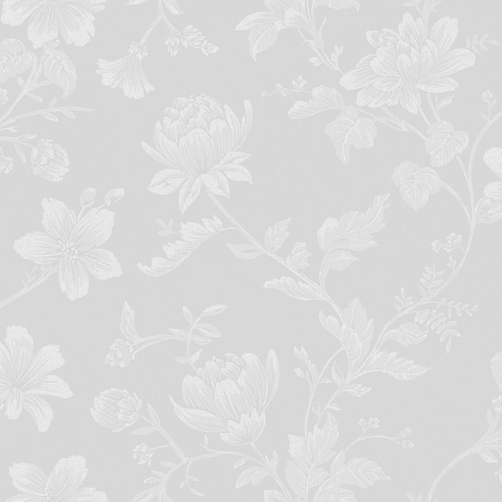 Papel de Parede Vinílico Contemporâneo Romântico Floral Branco