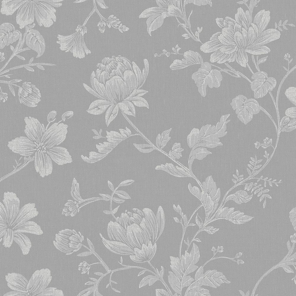 Papel de Parede Vinílico Contemporâneo Romântico Floral Cinza